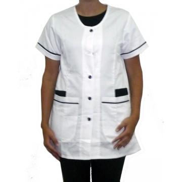 Camisa crepe blanca y azul...